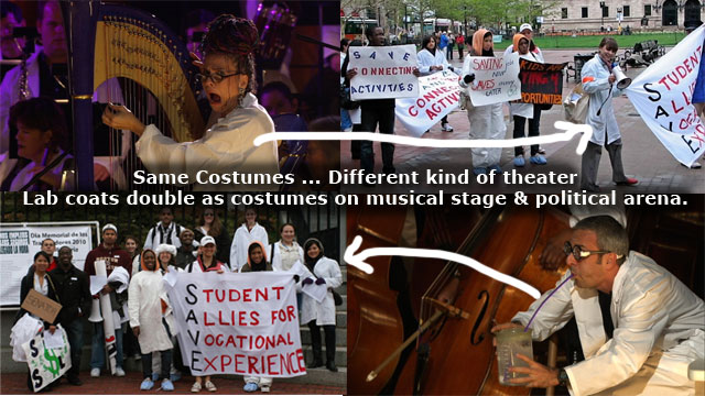 Lab Coats Double in Musical Theater and Guerrilla Theater