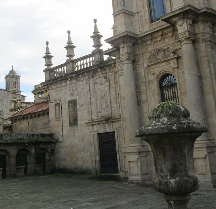 Santiago church and distant bell-tower