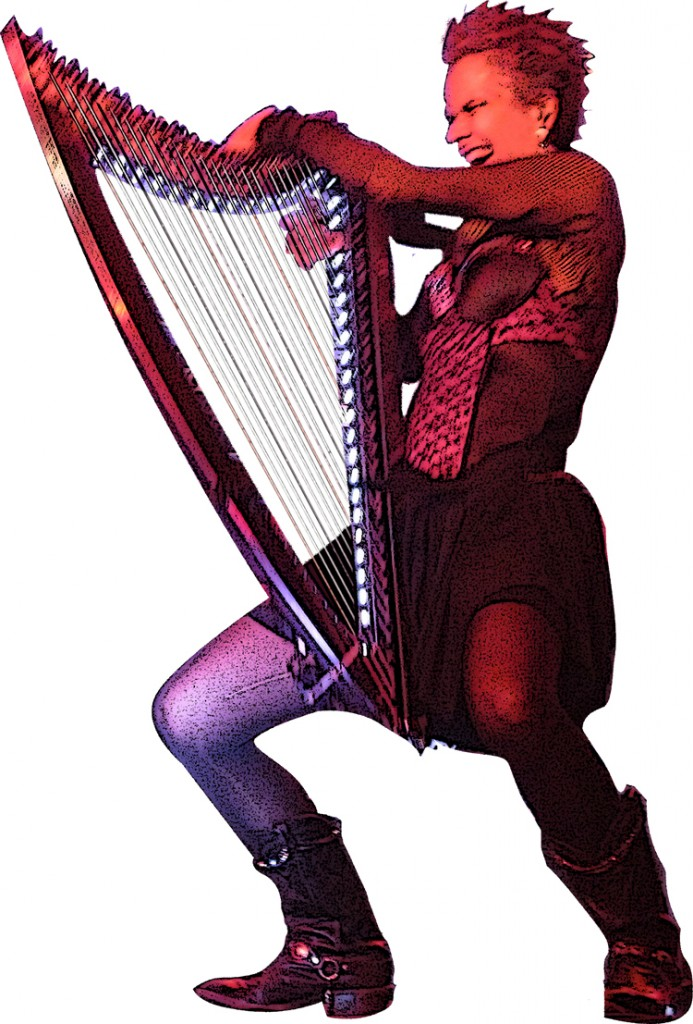 "Deborah Henson-Conant with the ""DHC Light"" harp from Camac"