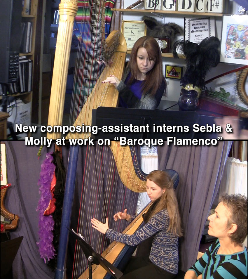 Harpist Composing-Assistants Sebla & Molly at work