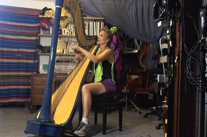 Practicing Beethoven in my running shorts & reflector vest