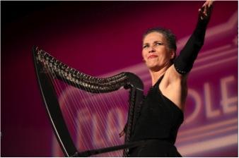 Deborah Henson-Conant on stage at Flagpole Radio Cafe in Newtown, CT - 2012