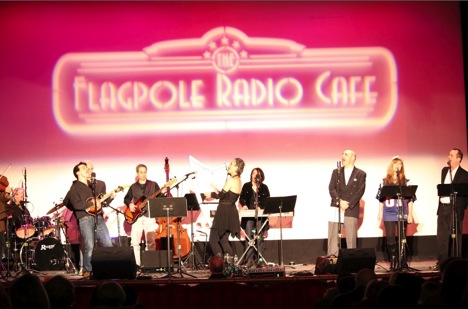 Deborah Henson-Conant with the Flagpole Radio Cafe Band and Cast in 2012
