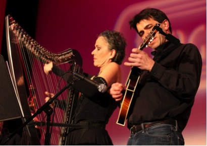 Harp & Mandolin at the Flagpole Radio Cafe show in 2012