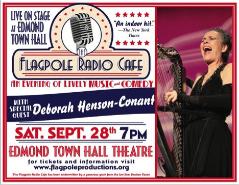 Poster: Flagpole Radio Cafe with Deborah Henson-Conant / Sat. Sept. 28, 2013 at 7pm