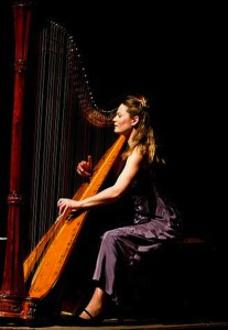 Eleanor Turner playing harp